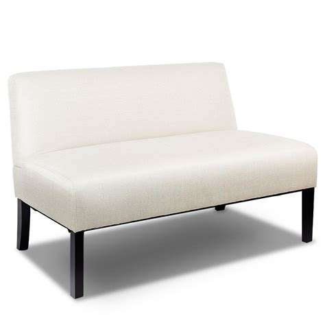 Armless Settee Costway Armless Loveseat Sofa Fabric Settee Bench Bed