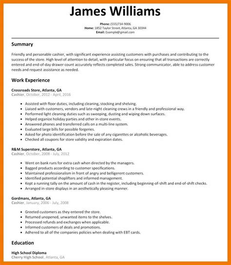 Cashier Objective For Resume by 9 10 Cashier Bullet Points Resume Mysafetgloves