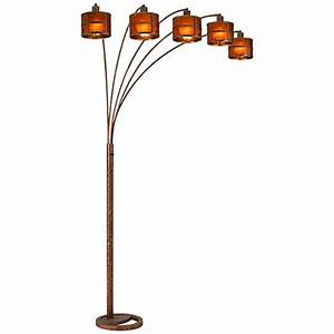 fidrych mica shade 5 arm heavy duty arc floor lamp With heavy wood floor lamp