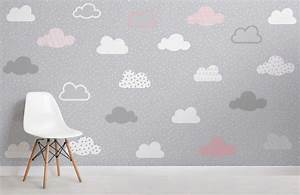 Pink and Grey Clouds Pattern Wall Mural | Murals Wallpaper