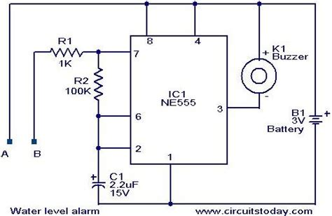 water level alarm circuit using 555 timer