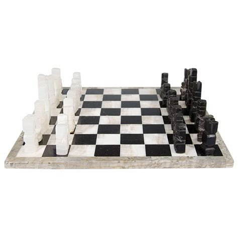 marble pieces midcentury marble chess set game board with onyx pieces at