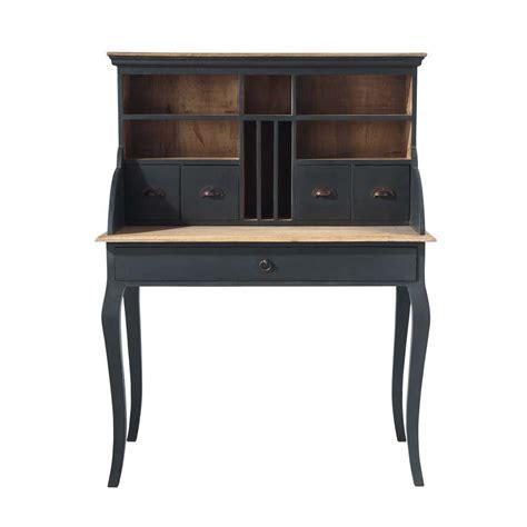 bureau secr aire meuble bureau secrétaire en bois noir l 102 cm chenonceau