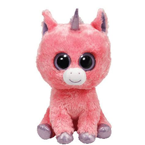 ty beanie boos magic  pink unicorn solid eye color regular size   bbtoystore