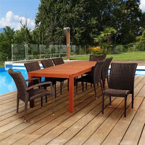 amazonia 9 teak rectangular patio dining set