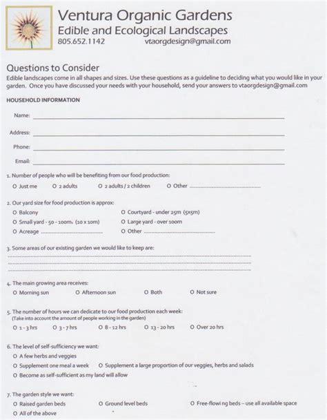 landscape design questionnaire garden design questionnaire pdf