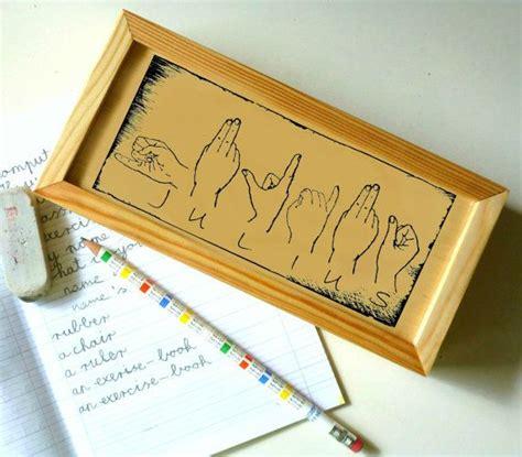 wood pencil box personalized pencil holder monogrammed sign language  etsy  diy