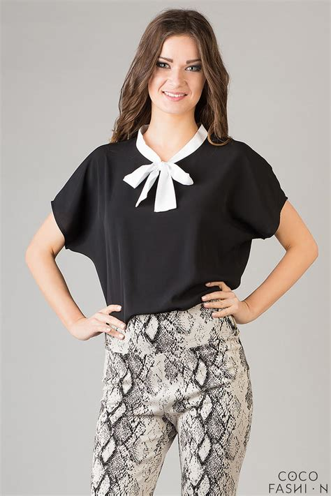 blouse with bow collar black white smartly poshy bow collar chiffon blouse