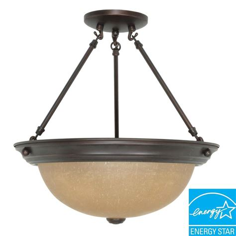 glomar 3 light metal mahogany bronze ceiling semi flush