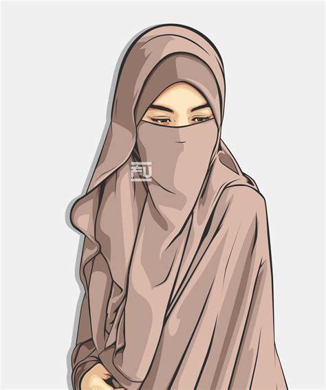 anime hijab cadar hijab niqab vector ahmadfu22 cartoon muslimah