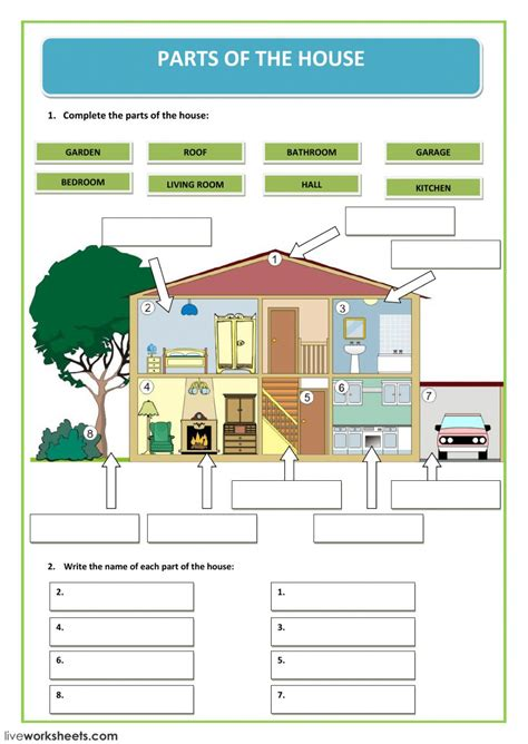 parts   house interactive worksheet