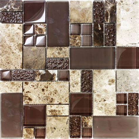 Glass Mosaic Tile Kitchen Backsplash by Sle Brown Pattern Imperial Marble Glass Mosaic