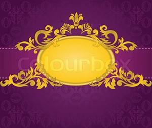 Gold oval frame with a horizontal stripe on a purple ...