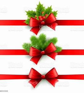 Red, Holiday, Ribbon, With, Bow, Holly, And, Pine, Decoration, Stock, Illustration
