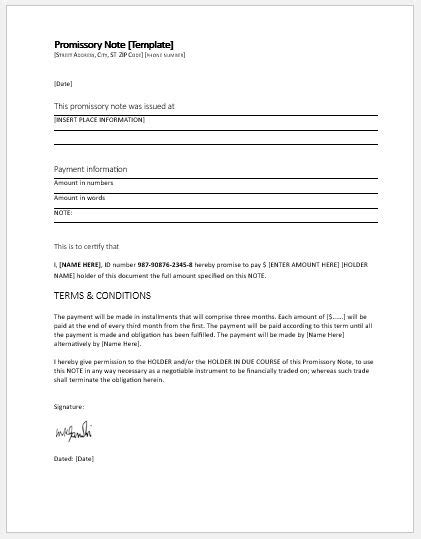 promissory note template   ms word word excel