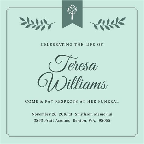 funeral invitation templates canva