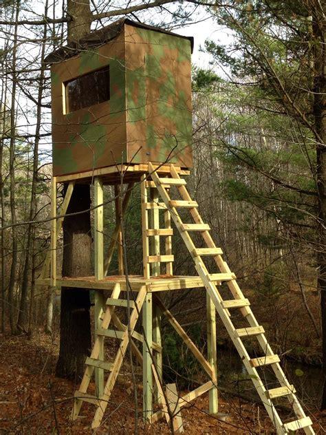 built  deer stand  summer    assistance   neighbor  stands  ft tall