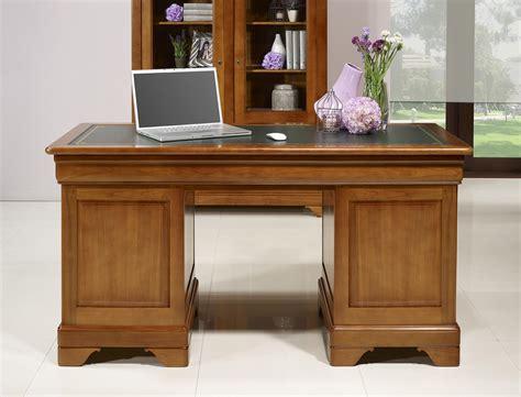 bureau massif bureau ministre 9 tiroirs en merisier massif de style