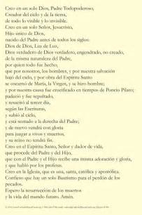Nicene Creed Catholic Spanish Prayer