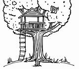 Coloring Treehouse Tree Drawing Template sketch template