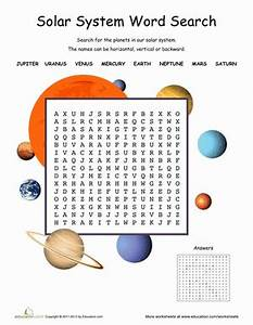 Solar System Word Search | Worksheet | Education.com