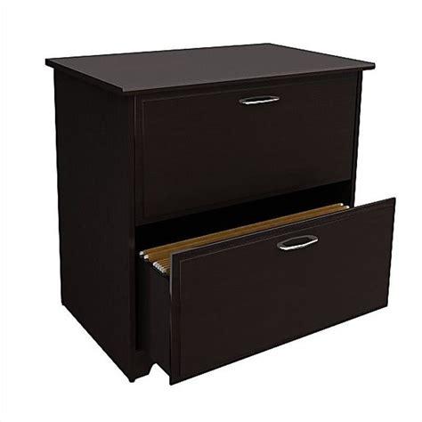 espresso lateral file cabinet bush cabot 2 drawer lateral file cabinet in espresso oak