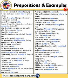 100 Important Preposition List And Using Example Sentences