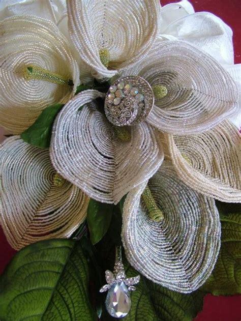 wedding bouquet handmade french beaded flowers