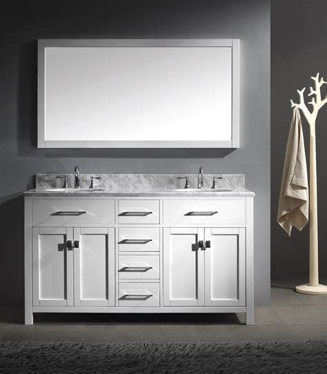 white polished double sink vanity with bronze handle door