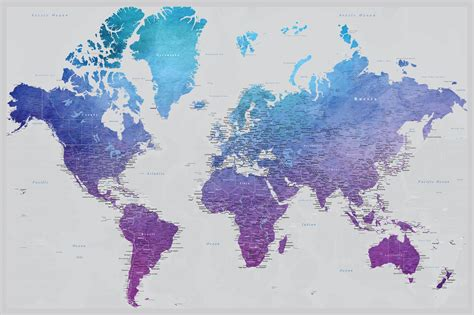 push pin map diy vibrant violet travel map watercolor map poster