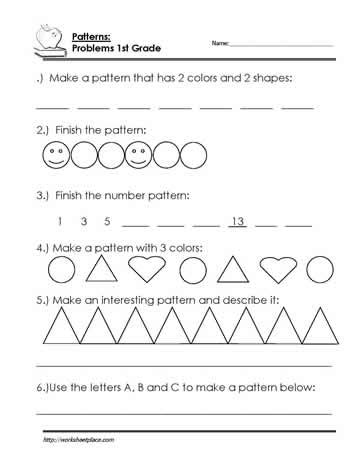 word patterns worksheets for grade 1 finish the pattern worksheet worksheets