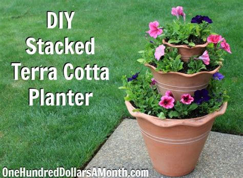 Container Gardening  Diy Stacked Terra Cotta Planter