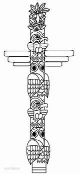Totem Pole Coloring Printable Cool2bkids Faces Ausmalbilder Totempfahl Poles Tiki Drawing Native American Template Totems Templates Crafts Mask Tribal Gesichter sketch template
