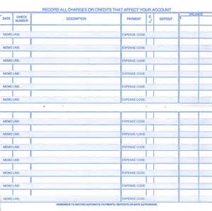 Printable Check Register for Checkbook