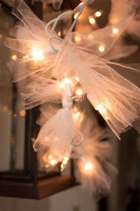 tie tulle to white christmas lights for a starry effect