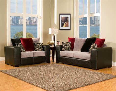 piece black grey  red modern sofa set