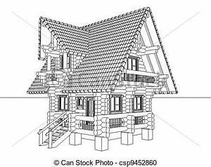 illustration de bois maison dessin 3d illustration With dessin de maison en bois