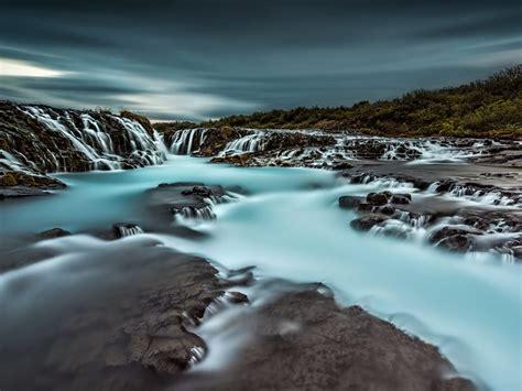 beautiful waterfall  blue water iceland desktop