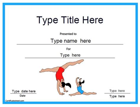 sports certificate gymnastic template