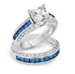 diamonique engagement rings luxury tanzanite diamonique 10kt white gold filled blue sapphire gem simulated
