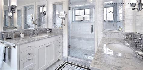 white carrara marble transitional bathroom artsaics
