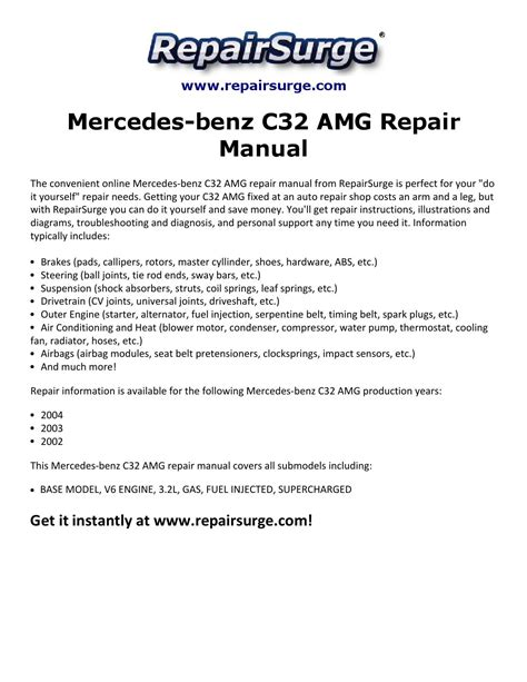 car manuals free online 2002 mercedes benz c class instrument cluster mercedes benz c32 amg repair manual 2002 2004 by michael jatenson issuu