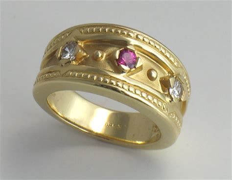 Hood River Jewelers  Pink Sapphire And Diamond Etruscan Ring