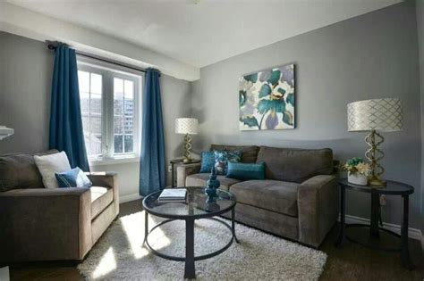 Love The Gray Walls With Blue Accents. Queen Anne Living Room Walmart Furniture Best Carpet For Wall Decorations Ideas Awesome Red Leather Sets Round Rug Designing On A Budget
