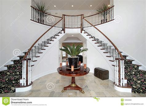 modern foyer  double staircase stock photo image