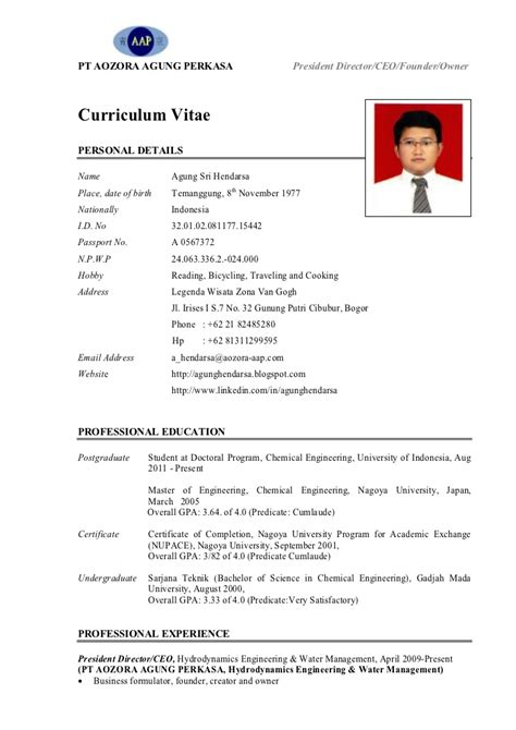 Contoh Resume Student by Cv Pak Agung