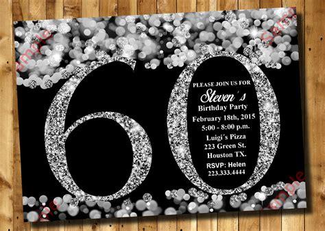 birthday invitation silver glitter invitation adult