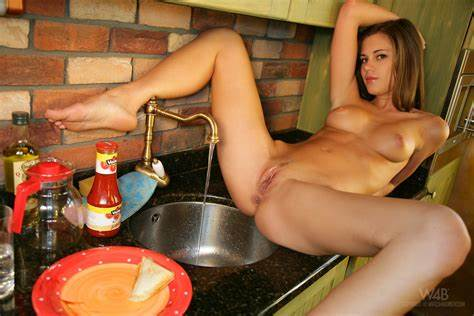 Sexy Caprice Spreads On A Kitchen