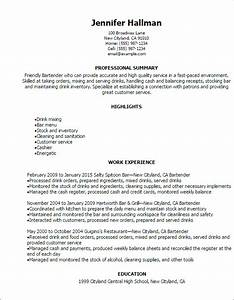 Professional bartender resume templates to showcase your for Free bartender resume templates