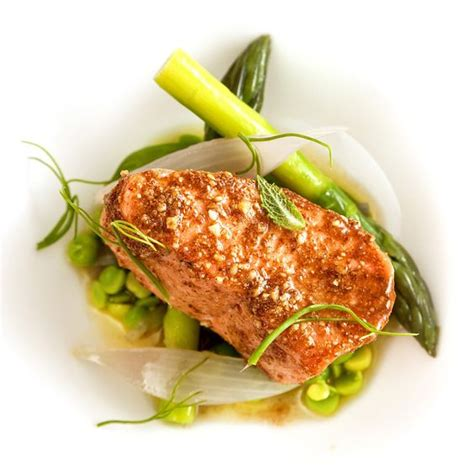 plat cuisiné sous vide salmon cooked sous vide in the kitchen sink from